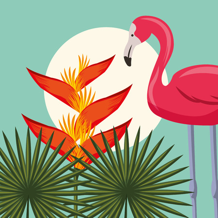 tropical leaves flamingo plants heliconias background vector illustration