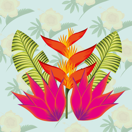 tropical leaves color flowers plants background vector illustration