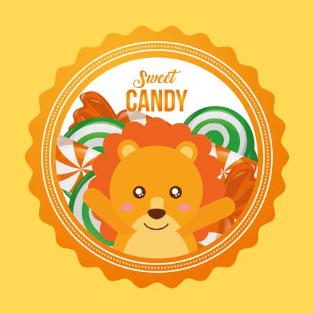 sweet candy lion hands up smiling caramels label vector illustration