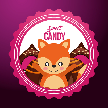 sweet candy fox smiling macarons stuffed flavors vector illustration Illustration