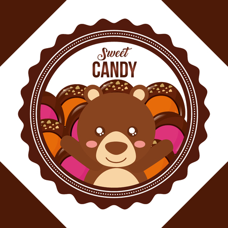 sweet candy figure frame bear caramels macarons vector illustration