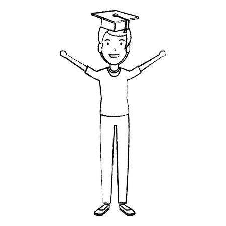 man student celebrating with hat graduation vector illustration design Çizim