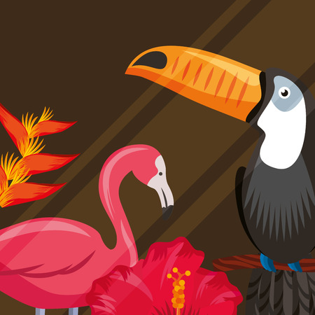 tropical leaves flamingo toucan heliconia plants vector illustration