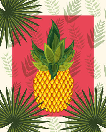 tropical leaves pineapple frame plants vector illustration