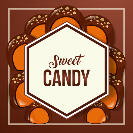 sweet candy frame figure sign macarons chocolate background vector illustration