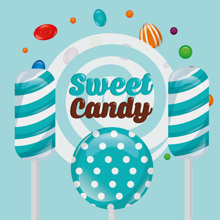 sweet candy mints lollipops caramels sign vector illustration