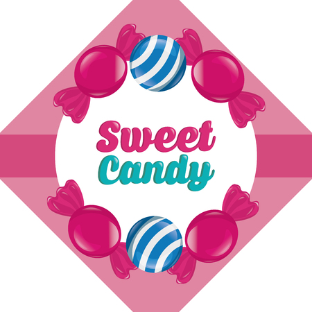 sweet candy sign figure frame caramels vector illustration Çizim