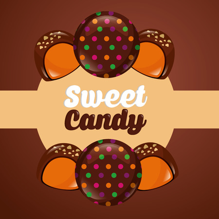 sweet candy macarons stuffed chocolates sign sticker vector illustration Çizim