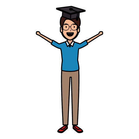man student celebrating with hat graduation vector illustration design Vectores