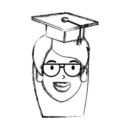 young woman student head with hat graduation vector illustration