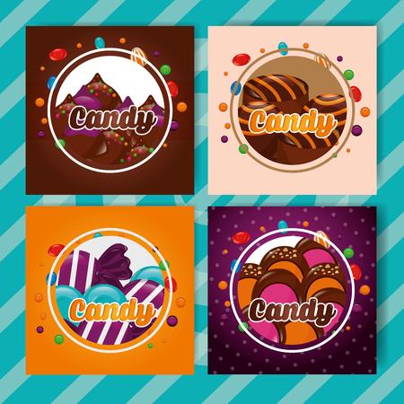 Banners de dulces dulces firmar pegatinas caramelos ilustración vectorial Ilustración de vector