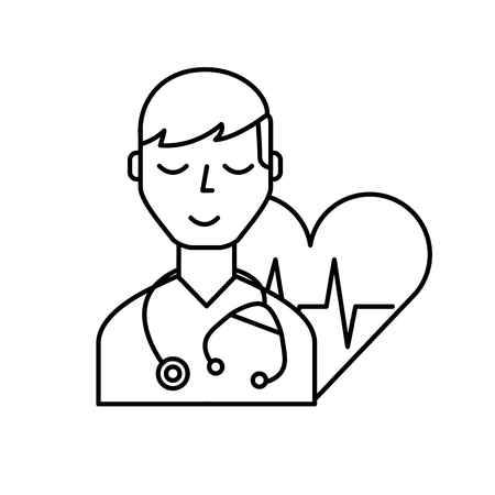 doctor character with stethoscope heart rate care vector illustration thin line