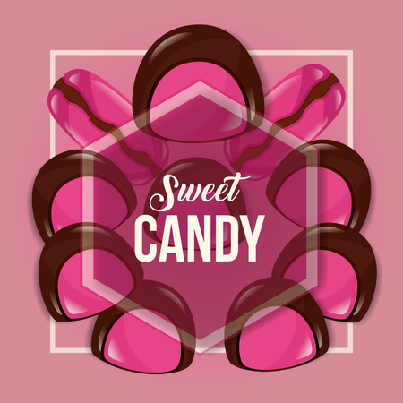 sweet candy strawberry chocolate macarons figure sign vector illustration Banque d'images - 110241891