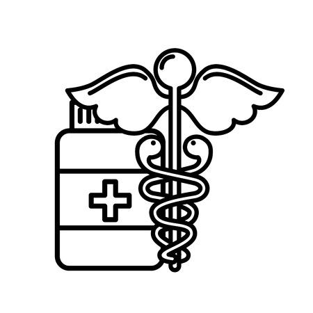 caduceus medical emblem bottle capsule pharmacy vector illustration thin line