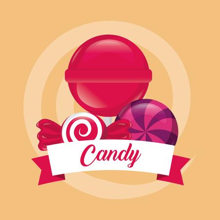 sweet candy lollipop caramels color ribbon vector illustration