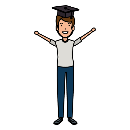 man student celebrating with hat graduation vector illustration design Illustration