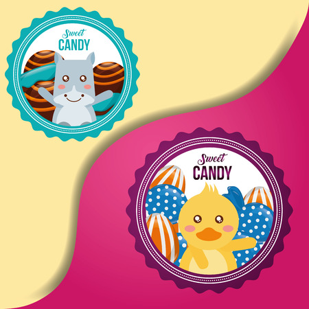 sweet candy labels duck cow smiling caramels flavors vector illustration Çizim