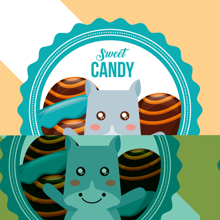 sweet candy cow smiling stuffed chocolates label color vector illustration Çizim