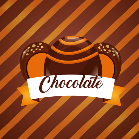 sweet candy stuffed macarons chocolate stripes background vector illustration