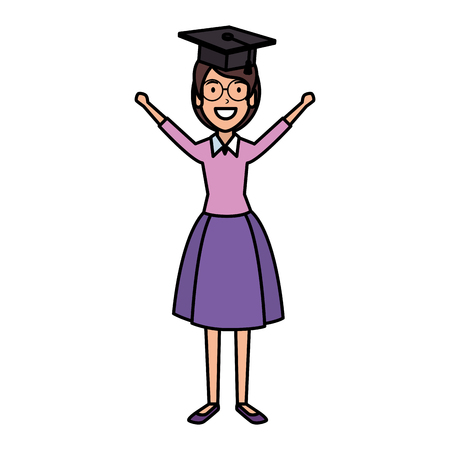woman student celebrating with hat graduation vector illustration
