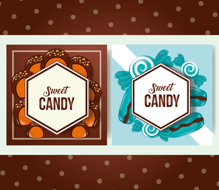 sweet candy banners stickers macarons mints caramels vector illustration