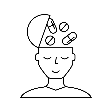 portrait man medication mental health care vector illustration thin line