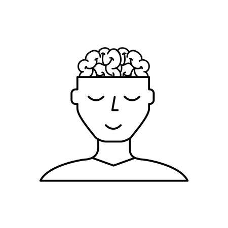 man character mental brain medicine vector illustration thin line Vettoriali