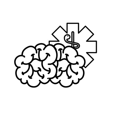 brain mental caduceus healthcare symbol vector illustration thin line Banco de Imagens - 110241927
