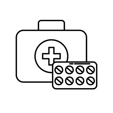 medical kit first aid medication pills vector illustration thin line Illustration