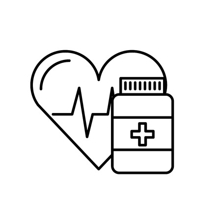 medication pharmacy bottle pills heart care vector illustration thin line