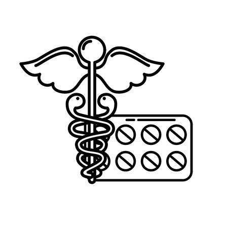 caduceus medical packaging pills healthcare vector illustration thin line