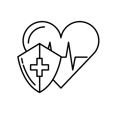 medical shield protection heart rate cardiology vector illustration thin line