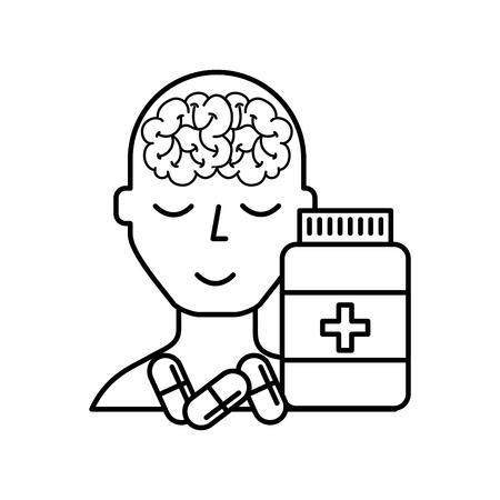 portrait human character mental brain bottle medicine capsule vector illustration thin line
