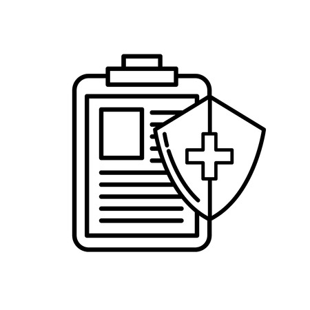 medical clipboard report and shield protection vector illustration thin line