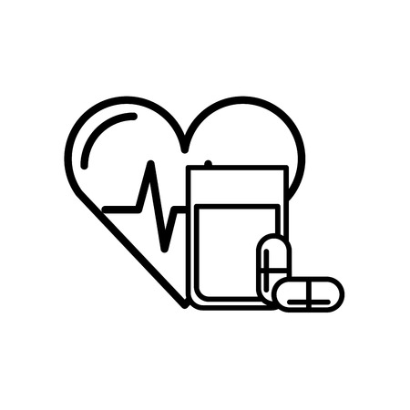 heart rate water glass and capsule medical vector illustration thin line Ilustração
