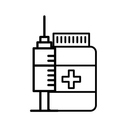 medication bottle pills and syringe vector illustration thin line Illustration