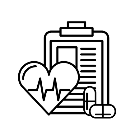 clipboard medical report heart rate and pills vector illustration thin line