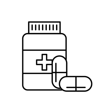 bottle capsule pharmacy medical prescription vector illustration thin line