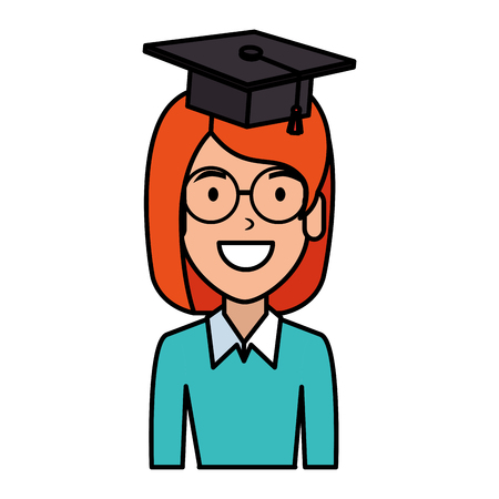 young woman student with hat graduation vector illustration design Illustration
