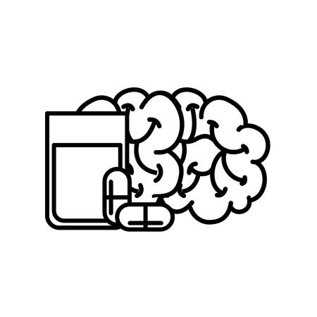 human brain mental water glass capsule medication vector illustration thin line
