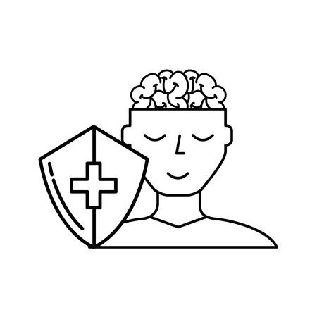 human portrait man brain mental healthcare vector illustration thin line Illustration