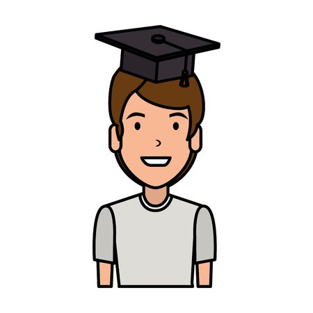 young man student with hat graduation vector illustration design