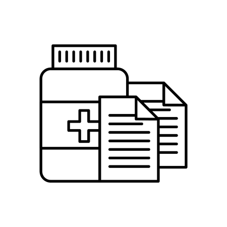 prescription medical bottle pills pharmacy vector illustration thin line Illustration