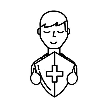 man character holding shield protection medical symbol vector illustration thin line
