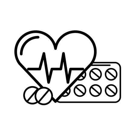 medical heartbeat and medication pills vector illustration thin line Illustration