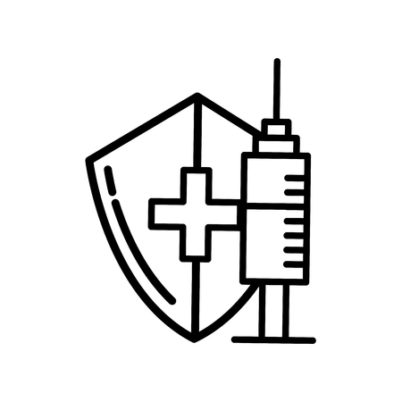 medical shield protection and syringe care vector illustration thin line Illustration