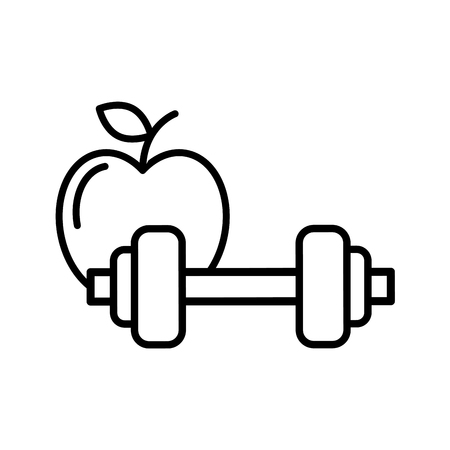 healthcare lifestyle weight barbell and apple vector illustration thin line Çizim