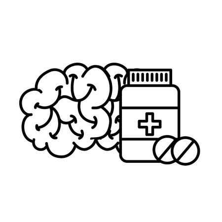 human brain mental care bottle medicine vector illustration thin line