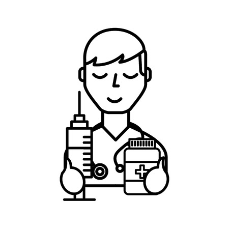 doctor professional character with syringe and bottle pills vector illustration thin line