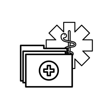 caduceo, carpeta médica, informe, documentos, vector, ilustración, línea fina Ilustración de vector